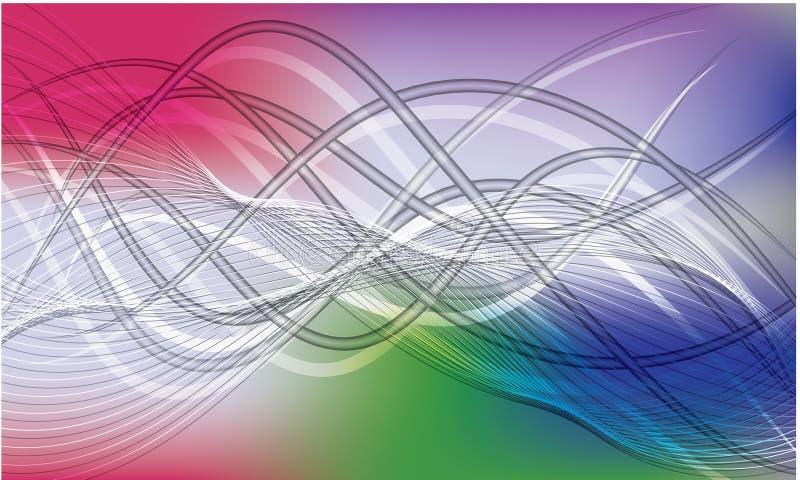 Linea astratta modello dell'onda di flusso della curva di spettro dell'arcobaleno del fondo illustrazione di stock