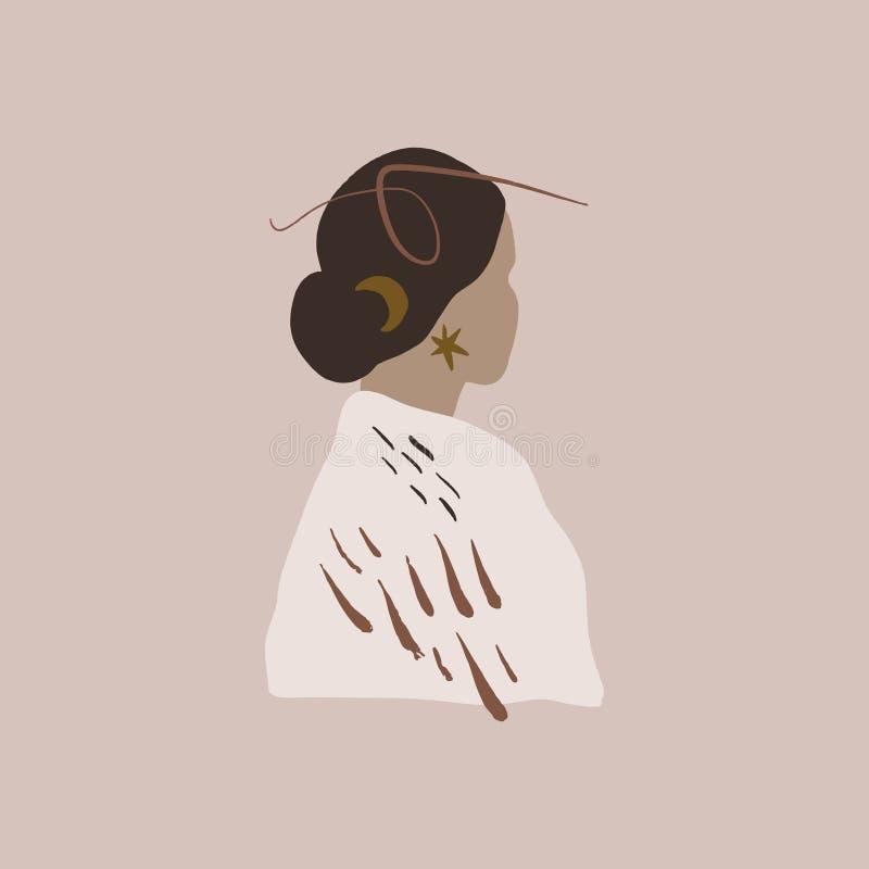 Linea astratta Terracotta Beige Blush Mid-Century Art Forme Decor di muro Womab Stampabile Vettore Poster Boho Minimalist illustrazione di stock