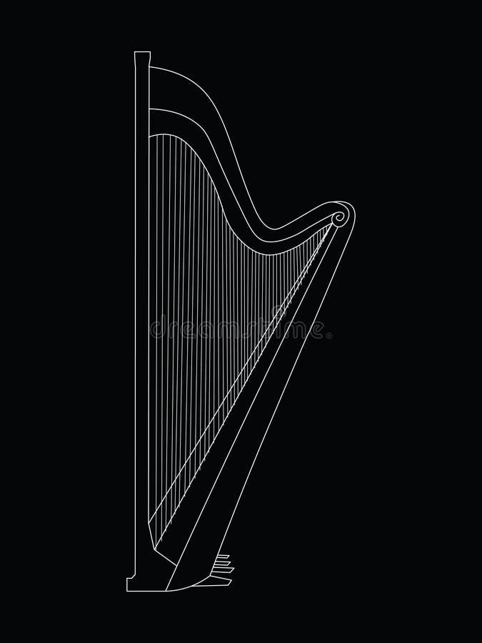 Linea bianca disegno di contorno dell'illustrazione dello strumento musicale dell'arpa illustrazione vettoriale