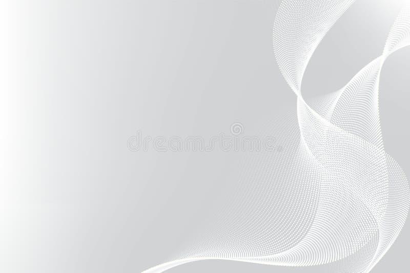 Linea bianca e grigia progettazione moderna della particella del fondo dell'estratto dell'onda con lo spazio della copia, illustr royalty illustrazione gratis