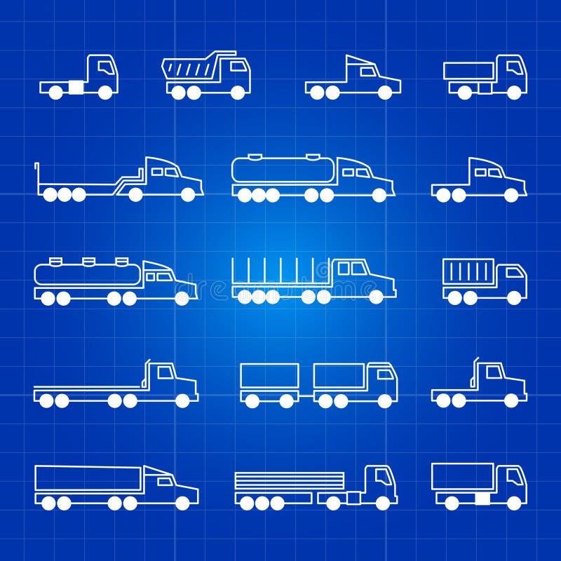 Linea bianca icone del camion Simboli isolati profilo di vettore del trasporto illustrazione vettoriale