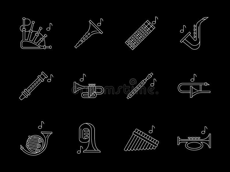 Linea bianca icone di musica degli strumenti a fiato messe illustrazione di stock