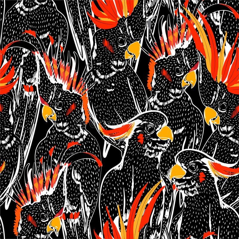 Linea bianca modello senza cuciture di scarabocchio alla moda degli uccelli della cacatua di schizzo Umore del disegno della mano illustrazione di stock