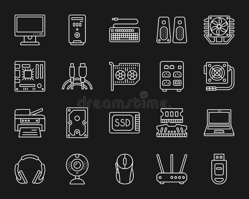 Linea bianca semplice insieme del computer di vettore delle icone royalty illustrazione gratis