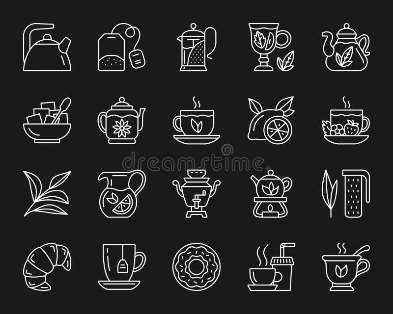Linea bianca semplice insieme del tè di vettore delle icone royalty illustrazione gratis