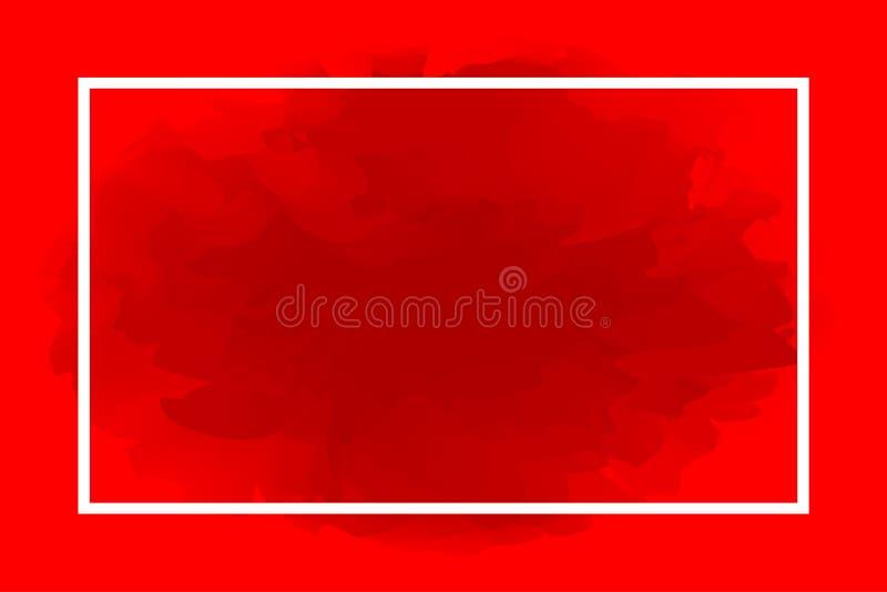 Linea bianco di rettangolo su fondo rosso astratto, struttura vuota sul modello di arte di colore di acqua rossa e spazio della c illustrazione di stock
