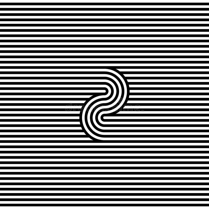 Linea in bianco e nero astratta fondo della banda illustrazione di stock
