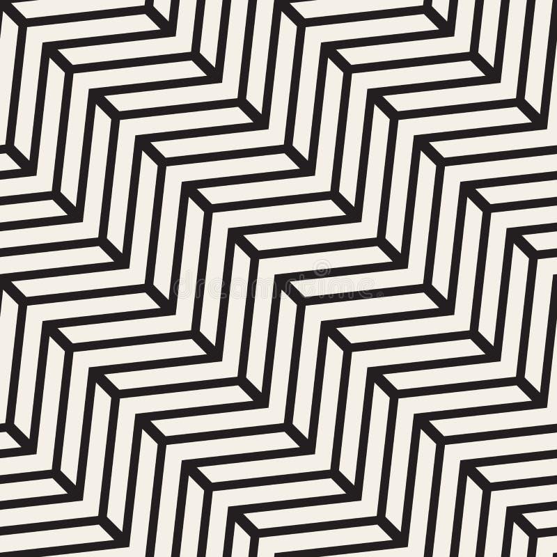 Linea in bianco e nero senza cuciture modello geometrico di Chevron di vettore illustrazione di stock