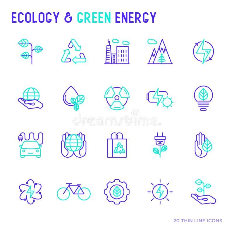 Linea bicolore sottile icone di energia verde e di ecologia royalty illustrazione gratis