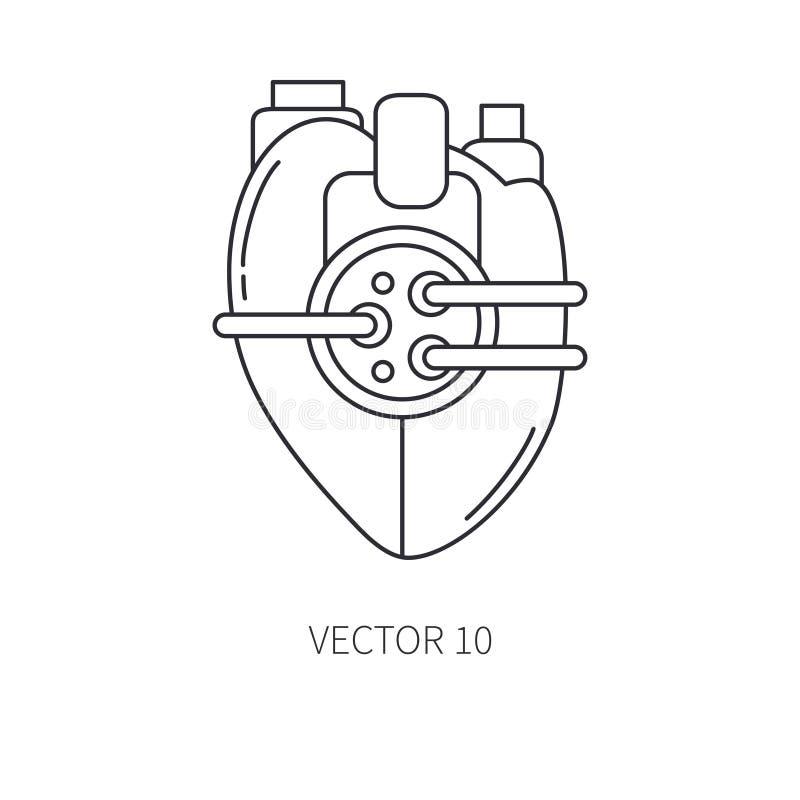 Linea bionica icona della protesi del cuore Protesi bionica Medicina futuristica di biotecnologia Tecnologia futura medico royalty illustrazione gratis
