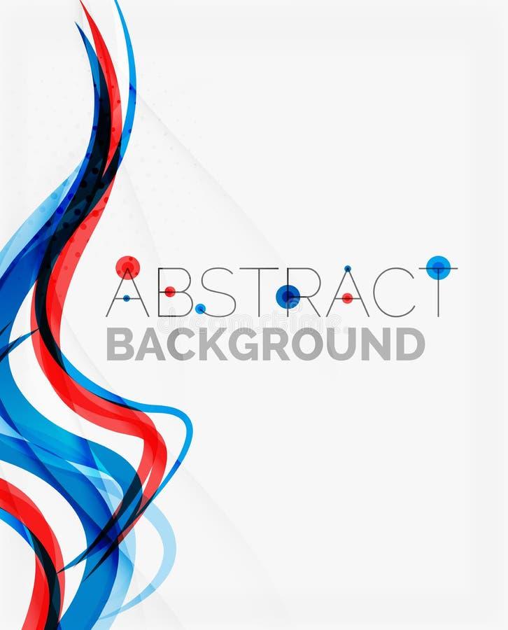 Linea blu e rossa fresca dell'onda illustrazione di stock