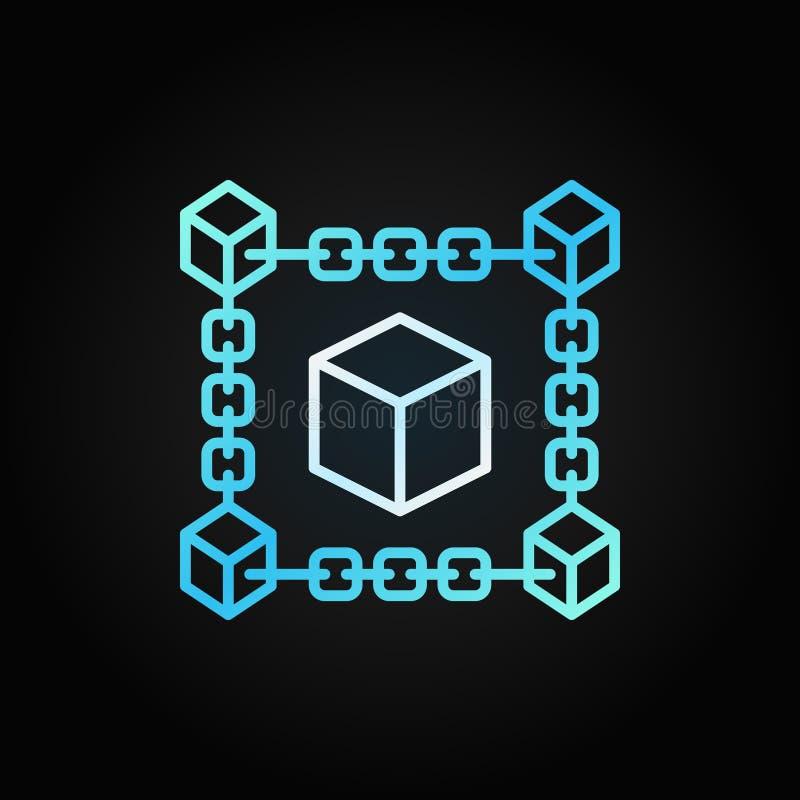 Linea blu icona di concetto del cubo della catena di blocco Simbolo di Blockchain illustrazione di stock