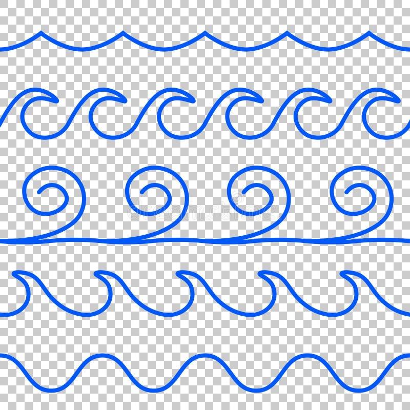 Linea blu modello dell'onda di vettore senza cuciture illustrazione di stock