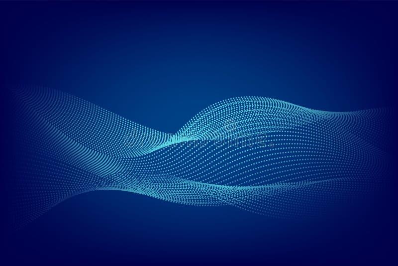 Linea blu progettazione moderna della particella del fondo dell'estratto dell'onda con lo spazio della copia, illustrazione di ve royalty illustrazione gratis