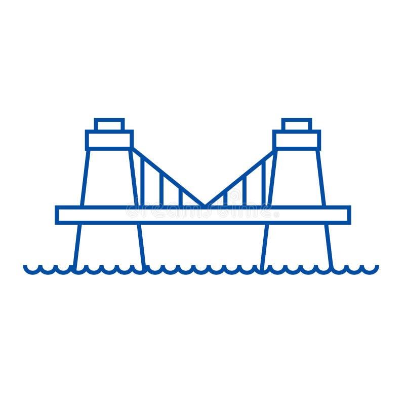 Linea britannica concetto del ponte dell'icona Simbolo piano di vettore del ponte britannico, segno, illustrazione del profilo royalty illustrazione gratis