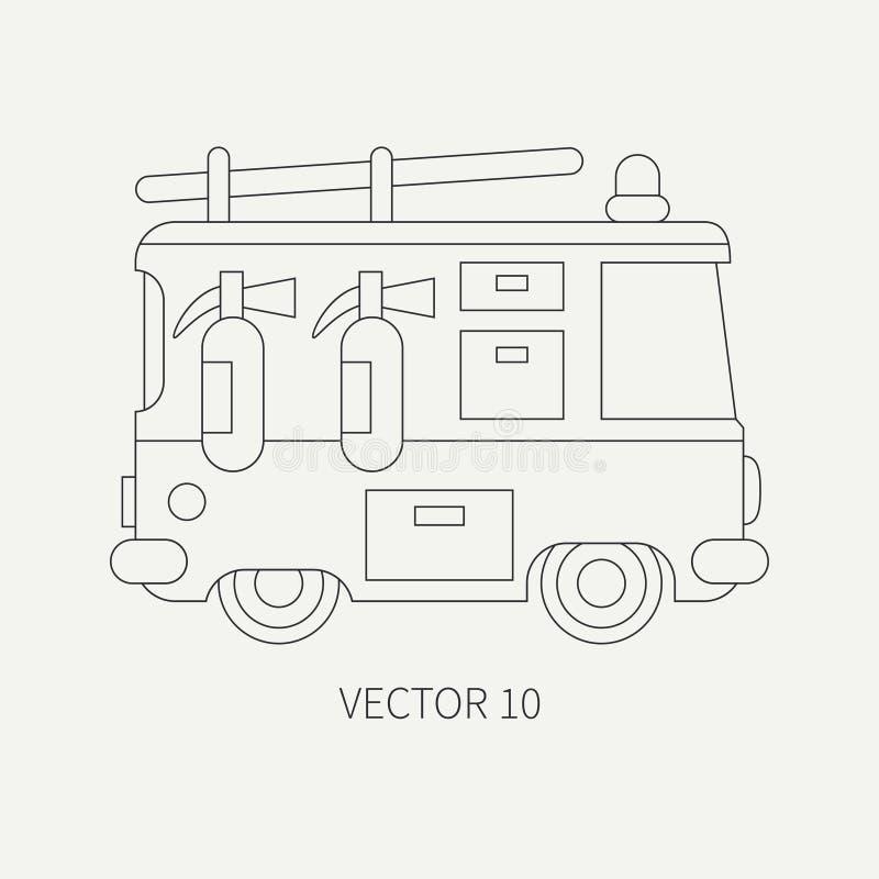 Linea camion dei vigili del fuoco dell'icona di vettore della pianura piana Veicolo di assistenza di emergenza Stile del fumetto  illustrazione vettoriale