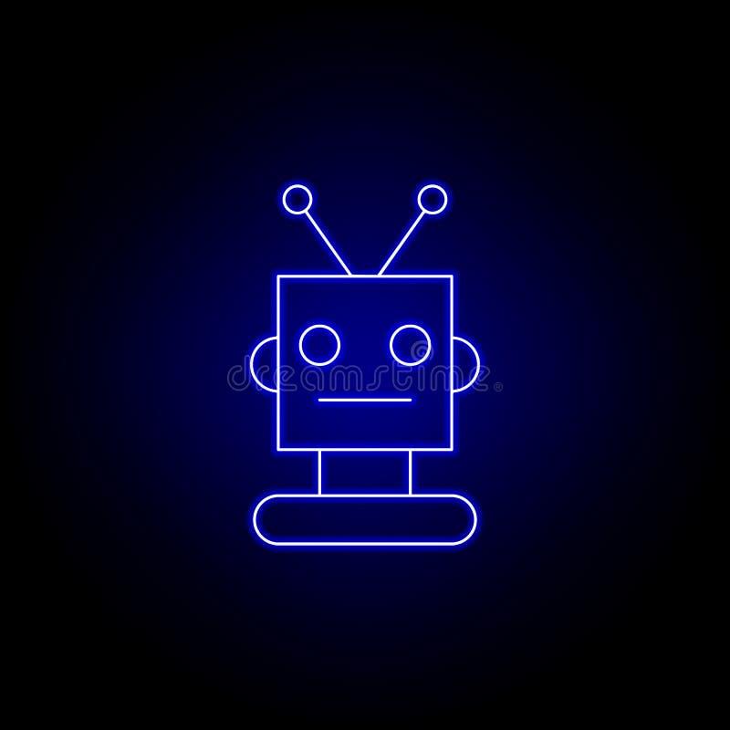 linea capa icona del robot nello stile al neon blu I segni ed i simboli possono essere usati per il web, logo, app mobile, UI, UX illustrazione di stock