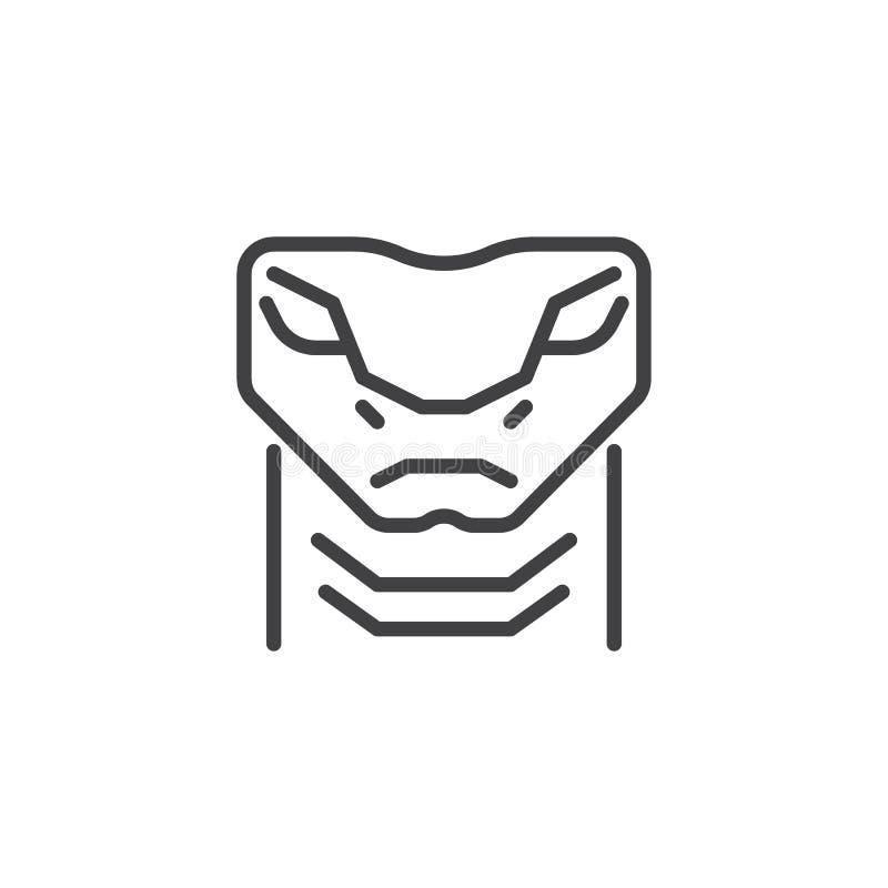 Linea capa icona del serpente della vipera illustrazione di stock