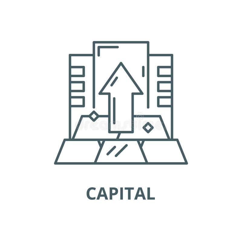 Linea capitale icona, concetto lineare, segno del profilo, simbolo di vettore illustrazione di stock