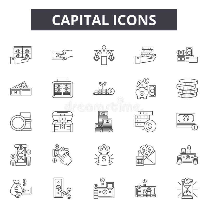 Linea capitale icone, segni, insieme di vettore, concetto dell'illustrazione del profilo illustrazione di stock