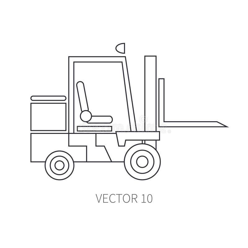 Linea carrello elevatore piano del macchinario di costruzione dell'icona di vettore Stile industriale Strada Macchinario di costr royalty illustrazione gratis