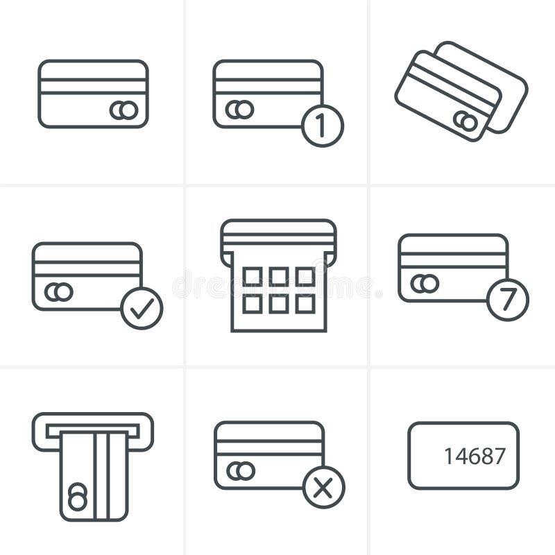 Linea carretto di credito del nero di vettore di stile delle icone illustrazione di stock