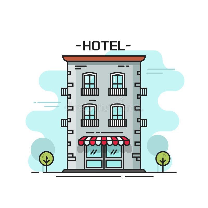 Linea cartone piano dell'illustrazione di vettore della costruzione dell'hotel del profilo dalla vista della via illustrazione di stock