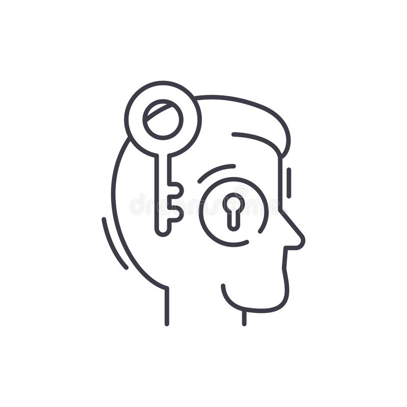 Linea chiave concetto degli impiegati dell'icona Illustrazione lineare di vettore chiave degli impiegati, simbolo, segno royalty illustrazione gratis