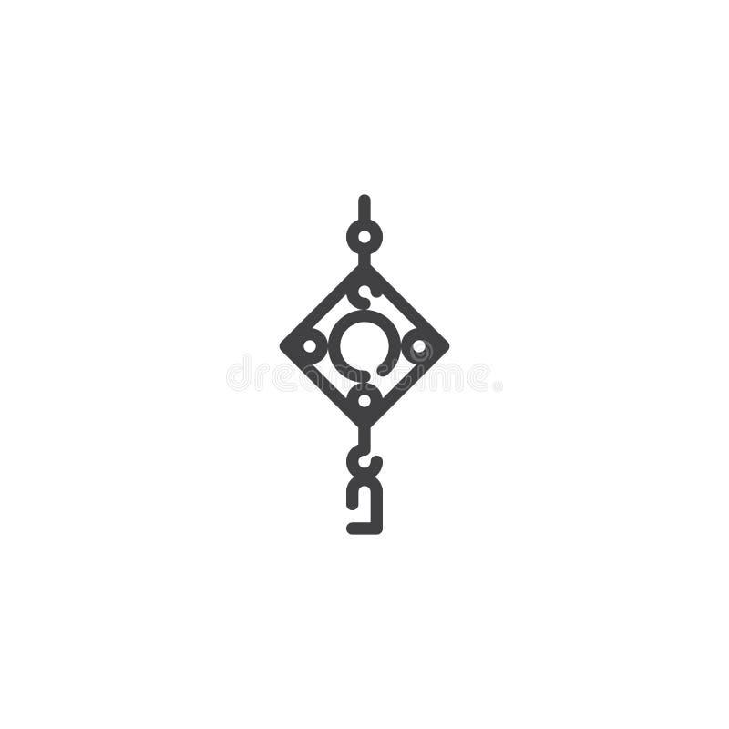 Linea cinese icona dell'amuleto illustrazione di stock