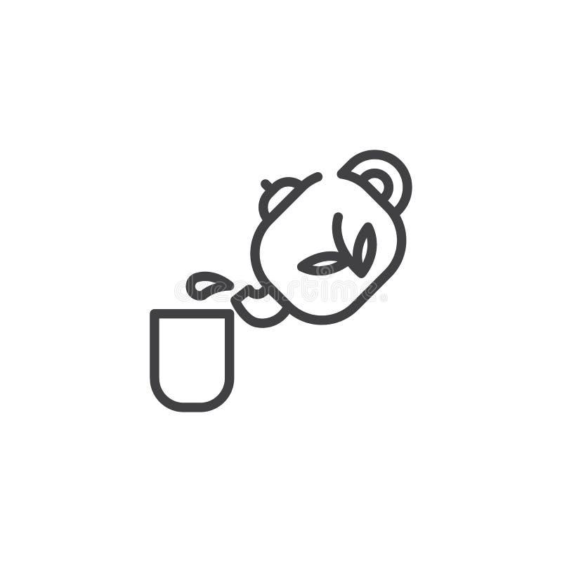 Linea cinese icona della tazza di tè e della teiera illustrazione di stock