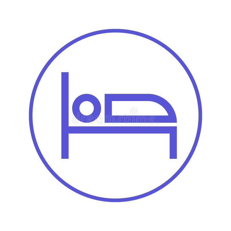 Linea circolare icona del letto Segno rotondo Simbolo piano di vettore di stile illustrazione di stock