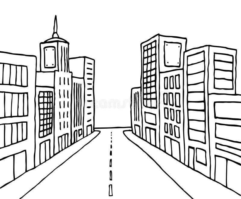 Linea città del fumetto di colore illustrazione vettoriale