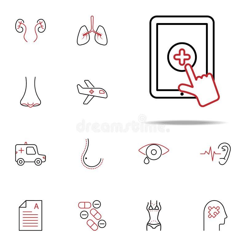 Linea colorata icona di aiuto medico online Insieme universale delle icone mediche per il web ed il cellulare illustrazione vettoriale
