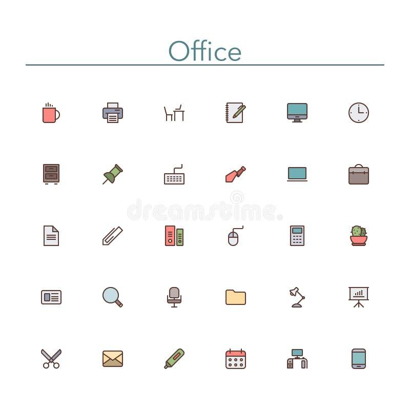 Linea colorata icone dell'ufficio illustrazione di stock