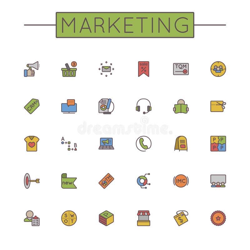 Linea commercializzante colorata vettore icone illustrazione di stock