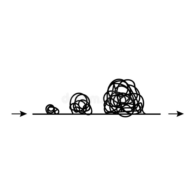 Linea con l'elemento rotondo scribacchiato Modo complicato con gli ostacoli e le difficoltà illustrazione vettoriale