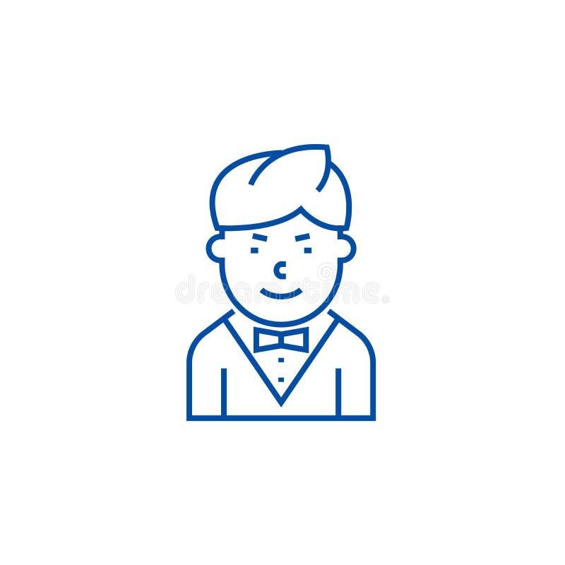 Linea concetto del cameriere dell'icona Simbolo piano di vettore del cameriere, segno, illustrazione del profilo illustrazione di stock
