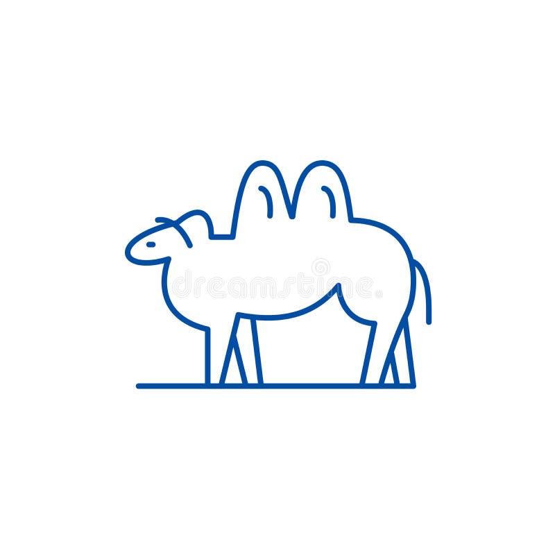 Linea concetto del cammello dell'icona Simbolo piano di vettore del cammello, segno, illustrazione del profilo illustrazione vettoriale