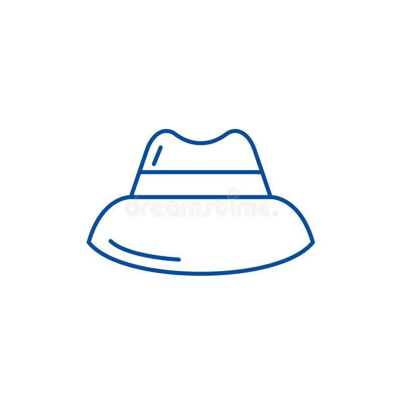 Linea concetto del cappello degli uomini dell'icona Simbolo piano di vettore del cappello degli uomini, segno, illustrazione del  royalty illustrazione gratis