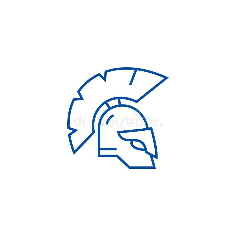 Linea concetto del casco della Grecia dell'icona Simbolo piano di vettore del casco della Grecia, segno, illustrazione del profil illustrazione vettoriale
