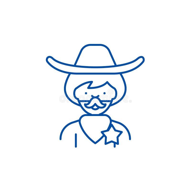 Linea concetto del cowboy dell'icona Simbolo piano di vettore del cowboy, segno, illustrazione del profilo illustrazione di stock