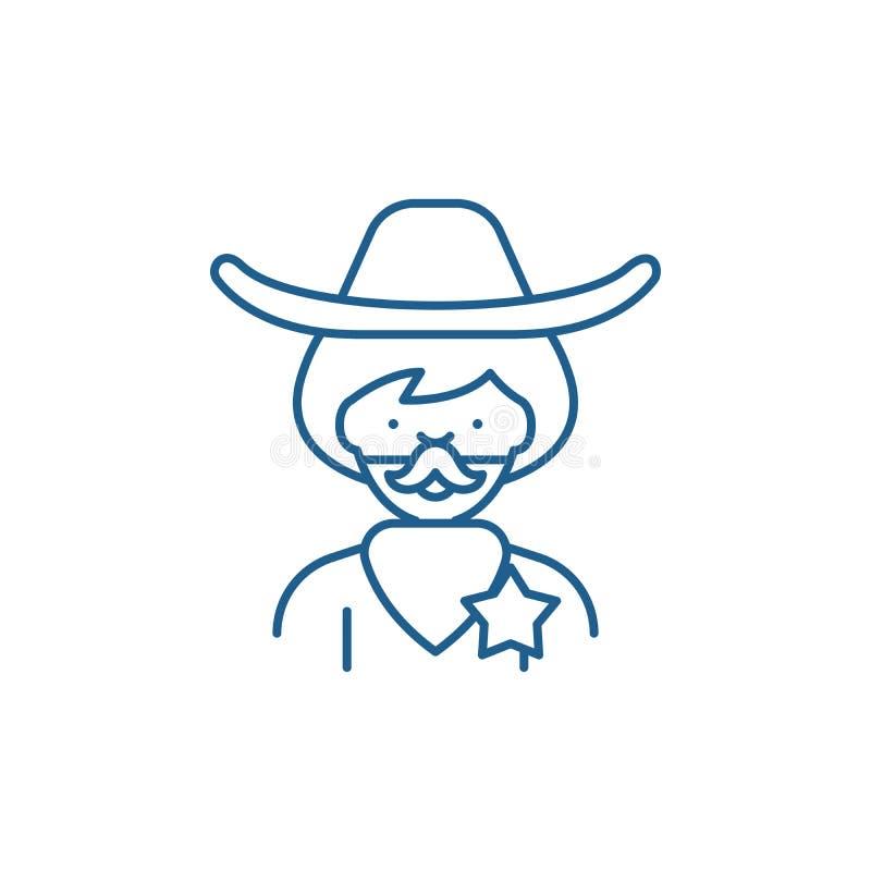 Linea concetto del cowboy dell'icona Simbolo piano di vettore del cowboy, segno, illustrazione del profilo illustrazione vettoriale