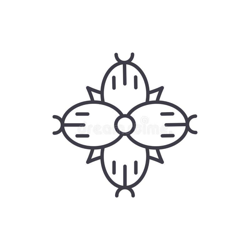 Linea concetto del Dianthus dell'icona Segno piano di vettore del Dianthus, simbolo, illustrazione illustrazione vettoriale
