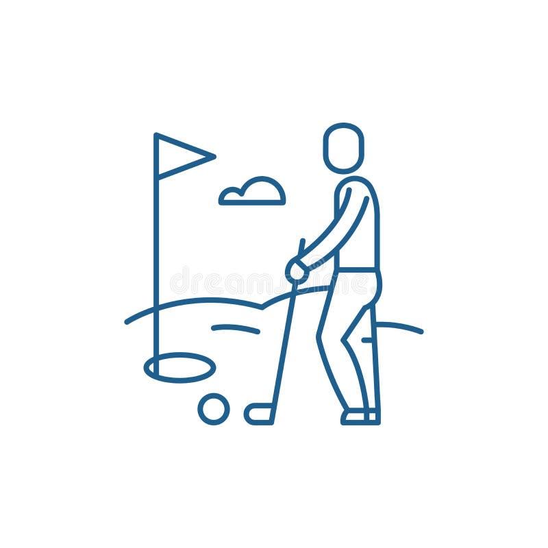 Linea concetto del giocatore di golf dell'icona Simbolo piano di vettore del giocatore di golf, segno, illustrazione del profilo royalty illustrazione gratis