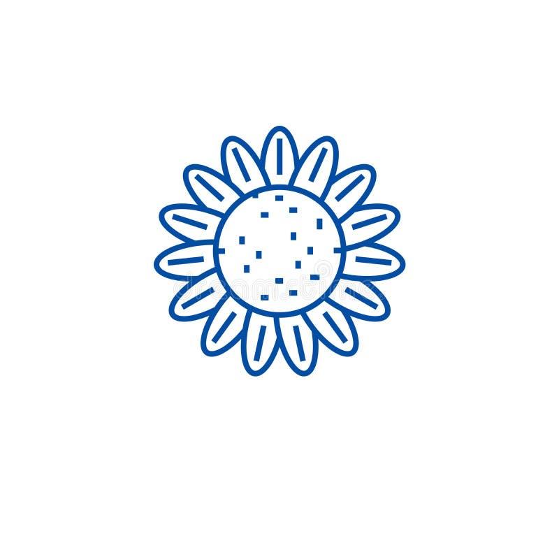 Linea concetto del girasole dell'icona Simbolo piano di vettore del girasole, segno, illustrazione del profilo illustrazione vettoriale