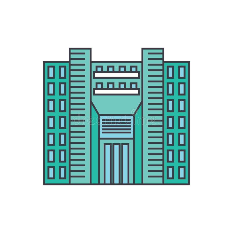 Linea concetto del grattacielo della torre dell'icona Segno piano di vettore del grattacielo della torre, simbolo, illustrazione illustrazione vettoriale
