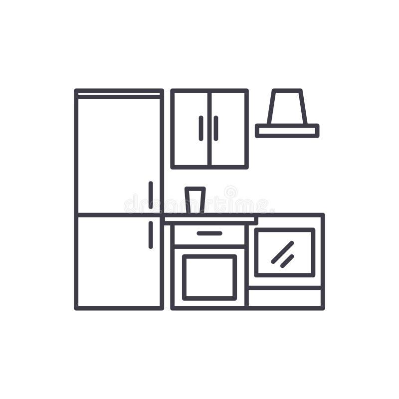 Linea concetto del guardaroba della cucina dell'icona Illustrazione lineare di vettore del guardaroba della cucina, simbolo, segn royalty illustrazione gratis
