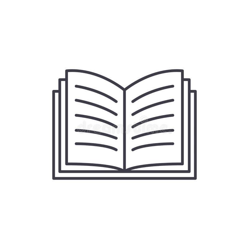 Linea concetto del libro aperto dell'icona Illustrazione lineare di vettore del libro aperto, simbolo, segno royalty illustrazione gratis