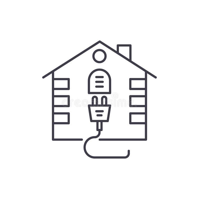 Linea concetto del sistema elettrico della Camera dell'icona Illustrazione lineare di vettore del sistema elettrico della Camera, royalty illustrazione gratis