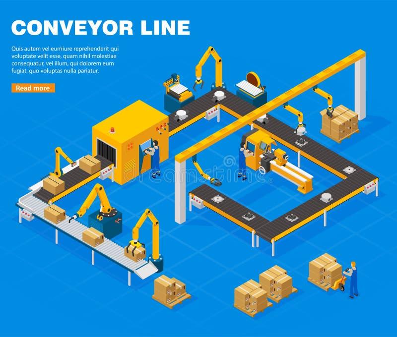 Linea concetto del trasportatore illustrazione di stock